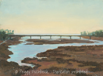 San Diego River Estuary, 9x12, oil on canvas  G0647 Loyalhanna Watershed Association