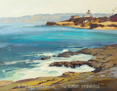 Lifeguard Station at the Cove, 14x18, oil panel - Available at SCOUT Quarters D - SOLD