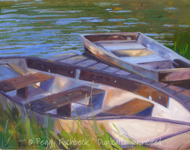 Two Boats, Dockside 16x20 oil on canvas, SOLD
