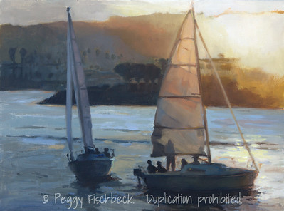 Sunset on the Bay, San Diego, 12x16, oil on linen board - SOLD