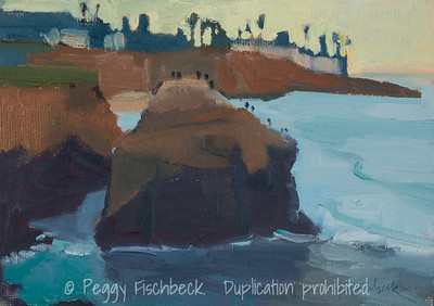 Ross Rock, Sunset Cliffs Study, 5x7, oil panel   SOLD  F0533