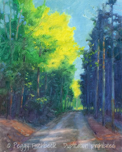 Down the Lane (Leaving the Cabin)8x10  oil on canvas panel  00141A