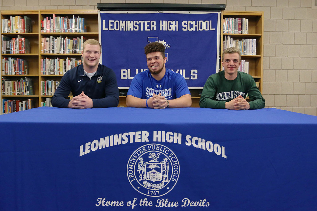 . From l-r is Leominster High School seniors Anthony Dandini, Dylan Tanner and John Gove. Dandini will be going to Merrimack College to play football. Tanner will be going to Southern Connecticut State University to play Football as well. Gove is headed to Michigan State University to run track. SENTINEL & ENTERPRISE/JOHN LOVE