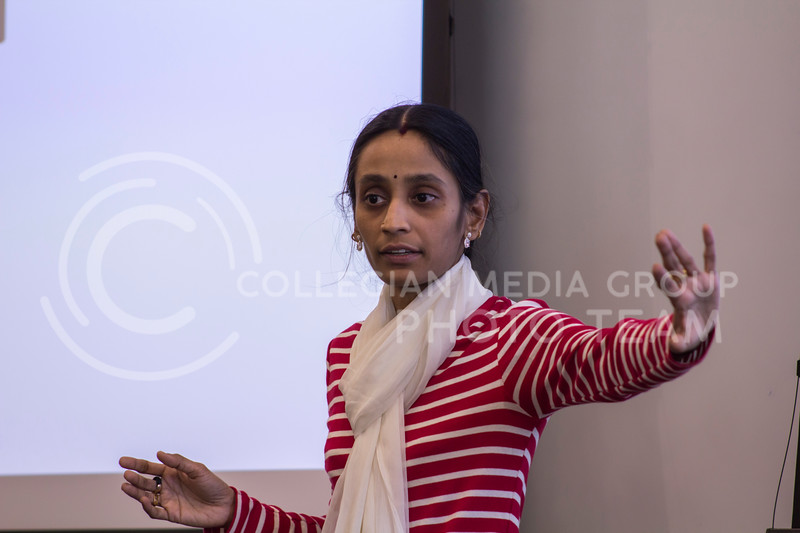 Brintha Parasumanna Girinathan, Genetics PhD delivers her 3 minute thesis, Antibiotics-A double edged sword on Feb. 13, 2018 at the College of Business Building. (Andrea Klepper | Collegian Media Group)