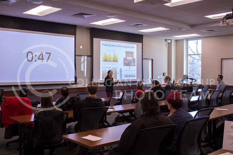 Discussing producing more wheat using less water Anju Giri, Agronomy PhD, gives her 3 minute thesis on Feb. 13, 2018 at the College of Business Building. (Andrea Klepper | Collegian Media Group)