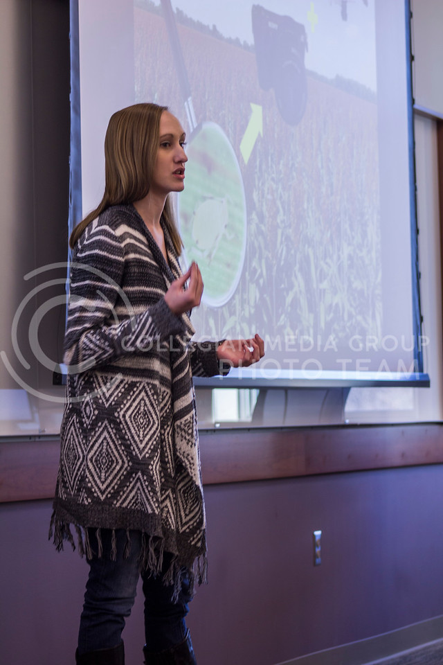 Deleivering her thesis on Fantastic pests and how to find them Grace Craigie, Entomology MS gives her 3 minute thesis on Feb. 13, 2018 at the College of Business Building. (Andrea Klepper | Collegian Media Group)