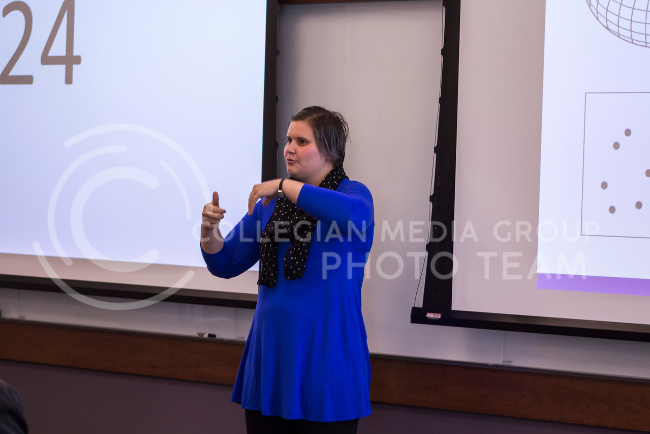 Speaking on Some holes in mathematics Keely Grossnickle, Mathematics PhD delivers her 3 minute thesis on Feb. 13, 2018 at the College of Business Building. (Andrea Klepper | Collegian Media Group)