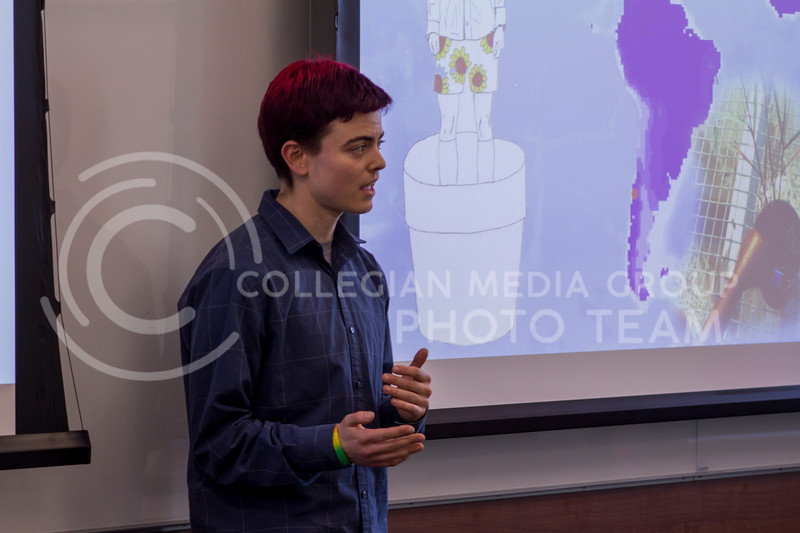 Sam Sharpe, Biology PhD, presents the 3 minute thesis, Thinking like a thirsty plant on Feb. 13, 2018 at the College of Business Building. (Andrea Klepper | Collegian Media Group)
