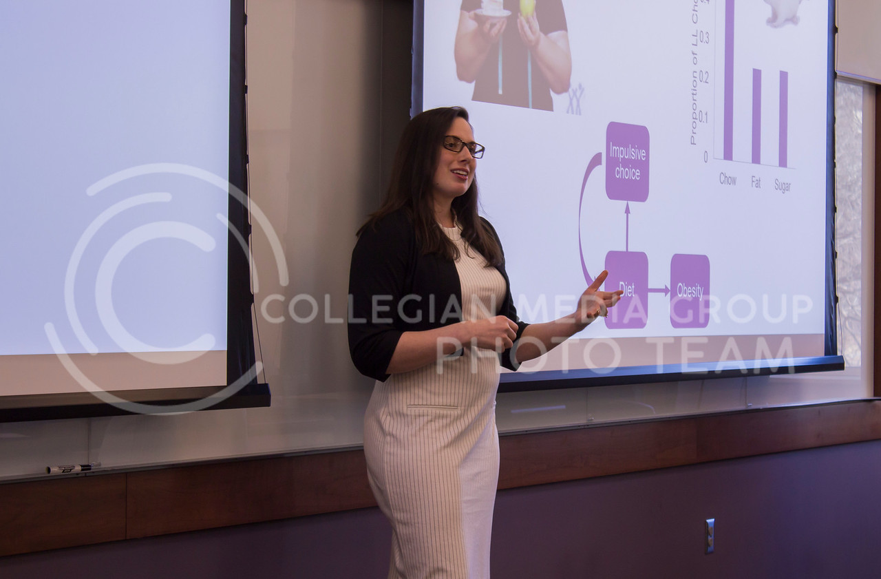 Speaking about diet-induced impulsivity Catherine Steele, Psychology PhD, gives her 3 minute thesis on Feb. 13, 2018 at the College of Business Building. (Andrea Klepper | Collegian Media Group)