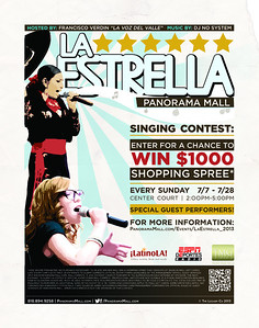 LA ESTRELLA de PANORAMA MALL will begin the annual singing contest on July 7, 2013 from 2:00 through 5:00pm.  Photos will be posted after each event and will be offered as a FREE download Courtesy of the Panorama Mall and the Ralph Godoy Photographic Group.  Please email godoyphotos@yahoo.com if you want a photo deleted.  The Ralph Godoy Photographic Group offers photographic / video services, to the organizer of events for a flat fee, and we provide FREE photo/video downloads, from my website, to the Community, Businesses, and Government Agencies.  We Archive the photos, inform the Public of various public services, provide vendor information, and much more.  Please contact us, for future events, at: godoyphotos@yahoo.com