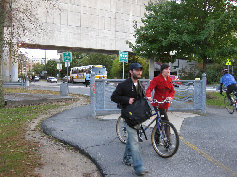 "The evening commute on the trail is a busy time.  The <a href=""http://www.minutemanbikeway.org"">Minuteman Bikeway</a> is an 11-mile rail-trail that connects Cambridge with Bedford, passing through Lexington and Arlington. This project converted an abandoned railroad, which provided passenger and freight service from 1846 to 1981 (Passenger service discontinued in 1977), into a multi-use bikeway. Over $2 million in federal TE funds were awarded to four projects that leveraged a total local match of nearly $530,000 to construct portions of the trail.   Connecting to the Alewife T Station in Cambridge, this bikeway serves as a regional connector providing pedestrians and bicyclists with access to subway and bus service. In addition, plowing in the winter makes the rail-trail accessible year-round. The Rails-to-Trails Conservancy inducted the Minuteman Bikeway into the national <a href=""http://www.railstotrails.org/ourWork/promotingTrailUse/trailRecognition/hallOfFame/index.html"">Rails-Trail Hall of Fame</a> in 2008. An interactive Google Map is available <a href=""http://maps.google.com/maps/ms?msa=0&msid=109226583957077835668.000465e72b5c80776ecd6&cd=20&geocode=FdjhgwIdyKe_-w&sll=41.524545,-73.895818&sspn=2.569111,6.049236&hl=en&ie=UTF8&ll=42.440434,-71.218529&spn=0.176595,0.308647&z=12"">here</a>."
