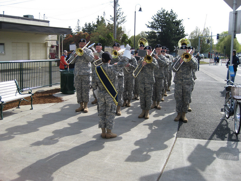 "A band plays at the opening ceremony for the bridge.<br /> <br /> In 2004, the City of Salem purchased the Union Street Railroad Bridge and its associated timber trestle from Pacific Union Railroad for $1. In 2009, the city finished converting it into a multi-use pathway for pedestrians, bicyclists, and other non-motorized users. The bridge, originally built in 1912-13, crosses a half-mile span of the Willamette River. The project improved bicycle and pedestrian safety and access, and provided a critical link in local, state, and regional trail networks.<br /> <br /> On April 18, 2009, hundreds of people joined local and state officials for the project's grand opening ceremony and an inaugural trip across the bridge. The project was awarded TE funds in 2003. Federal Award: $2,016,000; Local Match: $1,383,108; Total: $3,399,108<br /> <br /> To take a virtual walk across the bridge visit  <a href=""http://www.youtube.com/watch?v=uQDrhOQfwJc"">http://www.youtube.com/watch?v=uQDrhOQfwJc</a><br /> <br /> Photo credit: Pat & Chuck Fisher"
