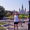 Rave run with Josh, along the Mississippi River in New Orleans. Jackson Square and the St Louis Cathedral. LA-NewOrleans-25aug2010P3709