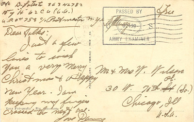 Christmas postcard to Mom and Dad from U  Danny in WWII copy
