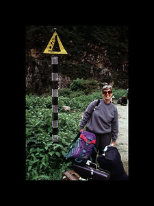 Chelle at Landslide on Path to Hell - Tibet 1995