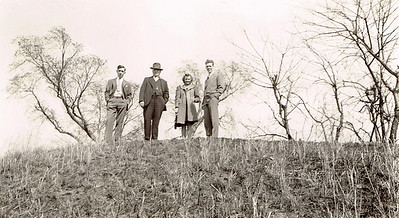 18 Walter, Dad (Harry) with Vivian and Eldon Warfield at Monk's Mound Spring 1941