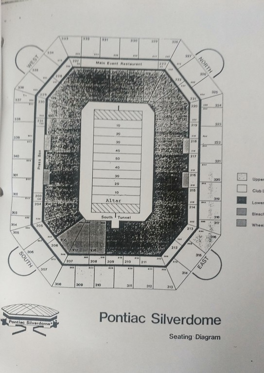 . The seating diagram for the pope\'s visit to the Pontiac Silverdome in 1987.