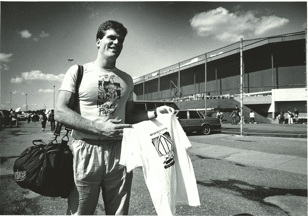 . Sean Shannon, pictured outside the Pontiac Silverdome, followed the Pope\'s tour across the country in 1987. (File/The Oakland Press)