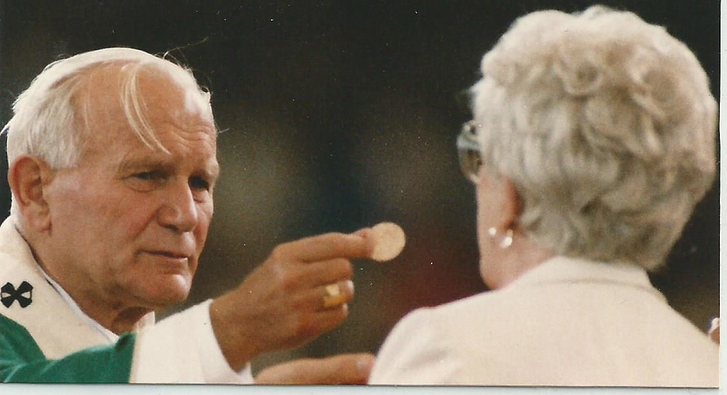 . Pope John Paul II holds Mass at the Pontiac Silverdome as part of a pastoral visit to the Detroit area in September, 1987. (File/The Oakland Press)