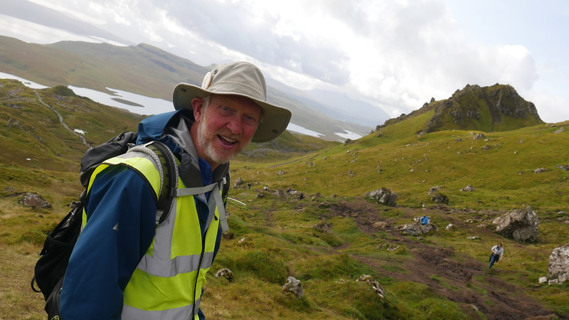 Brian walking Old Man of Storr with David Parker