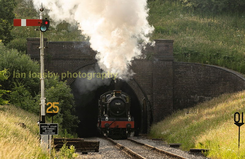 7820 emerges from Winchcome tunnel at the head of double headed north bound express as she pilots 6023 king Edward!!