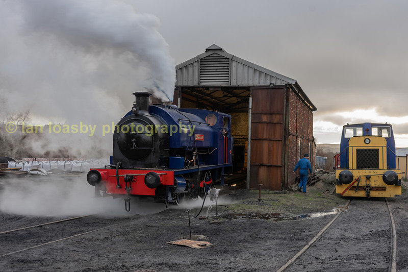 Empress outside her Furnace sidings depot alongside a 1965 built Hudswell Clarke 0-4-0 diesel shunter, works no3144'   which was allocated to Shirebrook Colliery in Derbyshire