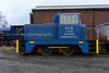Hudswell Clark 0-4-0 diesel shunter now painted in NCB  blue livery as Blaenavon no14.  Stands outside Furnace sidings shed
