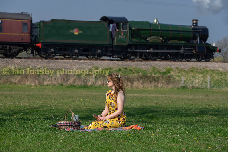 Samantha takes a little look at the passing diverted Bristol to Birmingham relief express at didbrook