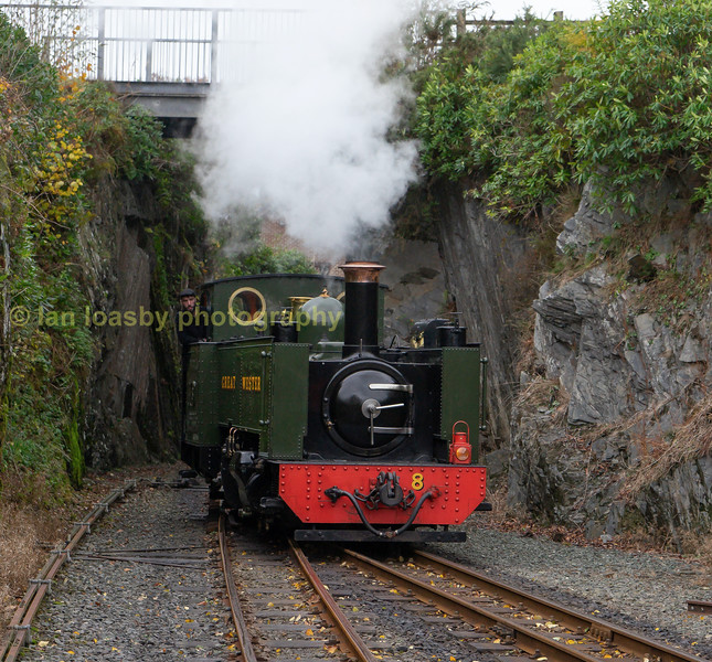 No 8 runs round to prepare for the journey back down the valley to Aberystwyth bunker first