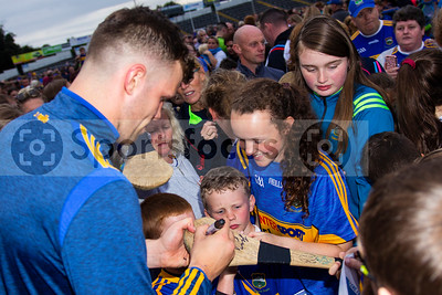 Tipperary's hurler Brian Hogan meets young supporters during the Tipperary Senior Hurlers meet and greet night in Semple Stadium