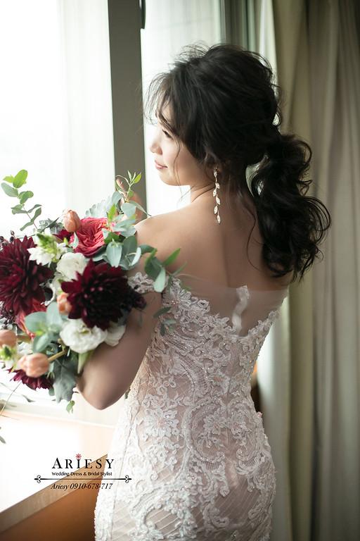 新娘捧花,愛瑞思,Ariesy,新娘秘書,新秘推薦,蓬鬆馬尾新娘造型
