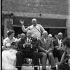 Whitefish Gala Days 1961<br /> (L to R seated) 1960 G N Railway Days Queen Alda Zerr, Henry Shapleigh, Kalispell Division Superintendent, C M Rasmussen, General Manager lines West, Seattle, and J T Andrew , General Safety Supervisor, St. Paul MN.<br /> 0126