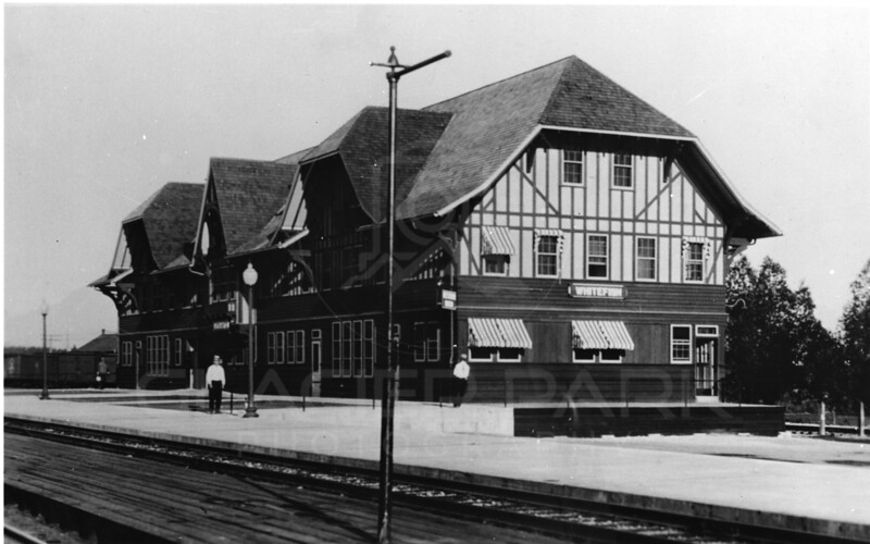 Great Northern Depot 1920's  First few days of depot operation<br />                                   RE Marble Photo <br />                                        MA-0188