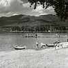 Whitefish City Beach 1946   <br /> Look, no Big Mountain.  The canoes pictured were owned by my Uncle Erving McKeen who among other talents was an excellent early day water skier and a record setting miler at WHS<br /> <br /> Lacy Photo <br /> <br /> 2017