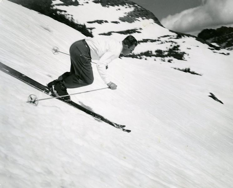 Toni Matt skiing in Glacier
