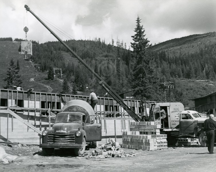 Pouring concrete for second story of ski lodge