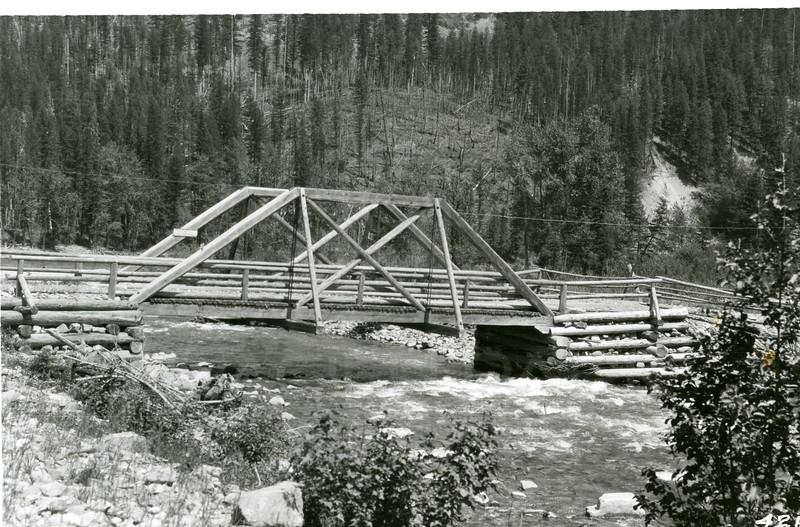 Ferde Greene Photo<br /> 7/4/1918 Big Creek Bridge, Columbia Falls, Montana<br /> 4264
