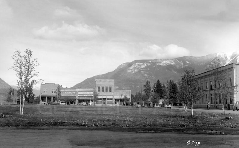 Ferde Greene Photo, 5/16/1942, Columbia Falls, Montana Stores on Main Street