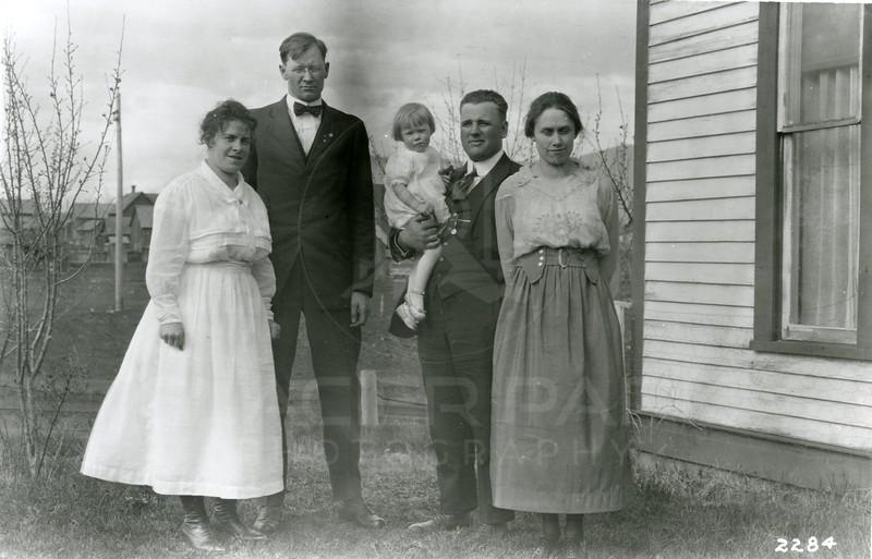 Ferde Greene Photo<br /> 5/4/1919, Glen Kersy from Cut Bank, Ferde & Elizabeth & Ruby Greene, Columbia Falls, Montana<br /> 2284
