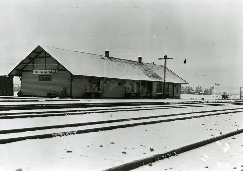 Ferde Greene Photo<br /> 3/28/1920, GN Depot, Columbia Falls, Montana<br /> 3312
