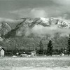 Ferde Greene Photo<br /> 11/15/1921 3PM, Buildings torn down 3rd & 4th Street & 8th & 9th, barn in back Leffler Barn, Columbia Falls, Montana<br /> 3347