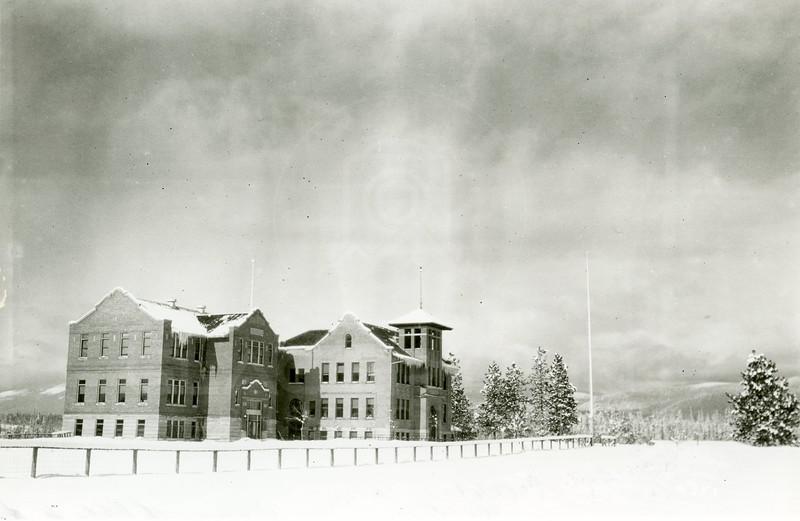 Ferde Greene Photo<br /> 2/5/1922 12PM, Columbia Falls, Montana school, Talbot School with new addition<br /> 6353