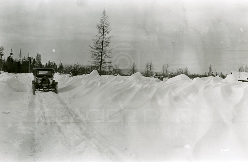 Ferde Greene Photo<br /> 2/4/1929 Rogers Lane South of Red Bridge, Columbia Falls, Montana<br /> 4451