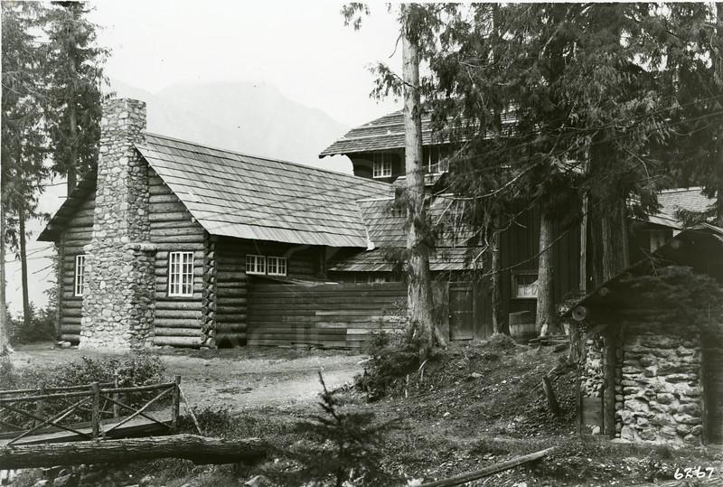 Ferde Greene Photo<br /> 8/18/1918, JE Lewis Hotel from bar, West Glacier, Montana, Lake McDonald, Glacier National Park, Montana<br /> 6267