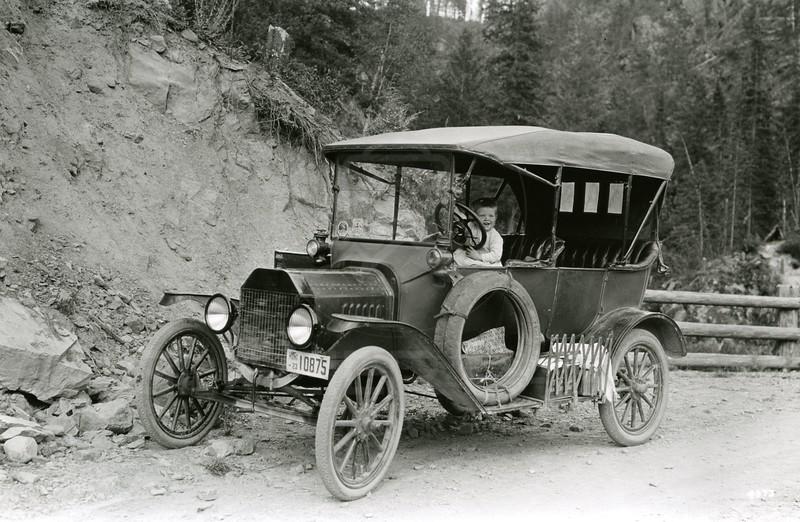 Ferde Greene Photo<br /> 8/12/1923 5:30 PM, Allan Greene driving Ferde Greene's car, 1914 Model T Ford Columbia Falls, Montana<br /> f11 1/25<br /> 4373