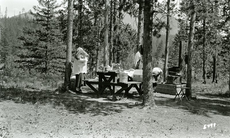 Ferde Greene Photo<br /> 7/22/1935 Spotted Bear Campground<br /> 5498