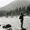 Ferde Greene Photo<br /> 7/4/1918,  Max Wagoner Dark Vest Tom Lee with pipe and white shirt, North Fork Flathead River, Columbia Falls, Montana<br /> 3265