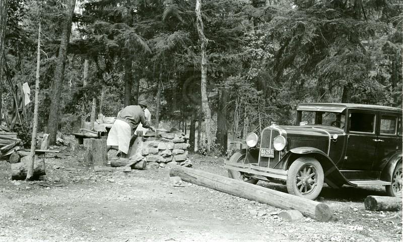 Ferde Greene Photo, 8/25/1936, Hungry  Horse Campground, Elizabeth cooking, Car was Ferde's neighbor