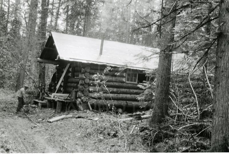 Ferde Greene Photo<br /> 6/17/1925 2PM Tom Lee's new cabin, Cedar, Crystal Creek, 4-5 miles up the North Fork.<br /> f11 1/25<br /> 6405