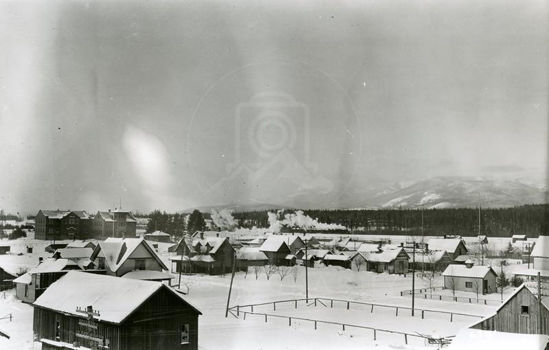 Ferde Greene Photo<br /> 1/181924, Haunted house dentist & optometrist now Talbot school back left, Columbia Falls, Montana<br /> 6381